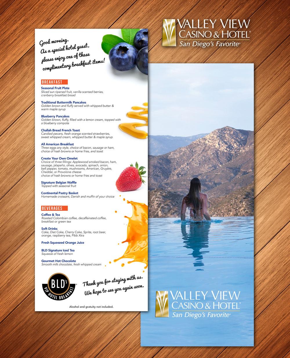Valley View Casino BLD's VIP Breakfast Menu
